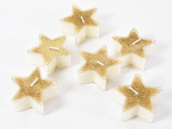 Candele a forma di stella oro glitterato Set 6 pz