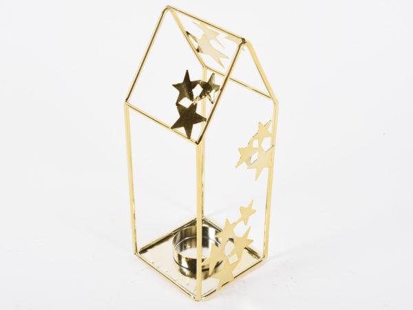 Portacandela con stelline in metallo oro 8,3x7,8x20,3cm