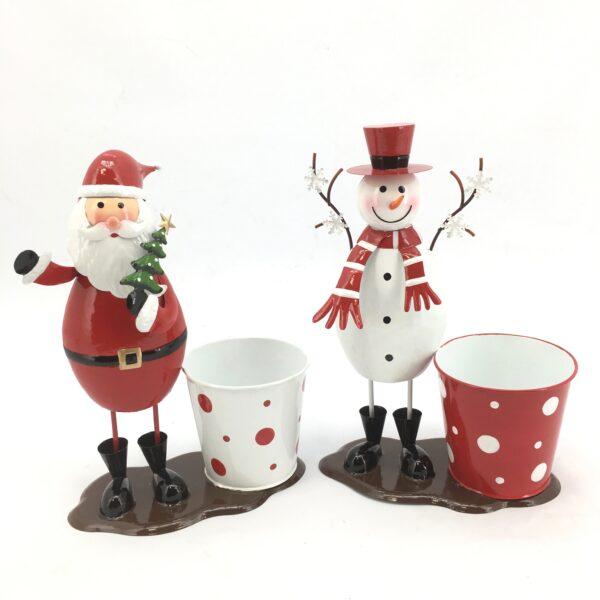 Pupazzo di neve e Babbo Natale con caspò in metallo Set 2 pz
