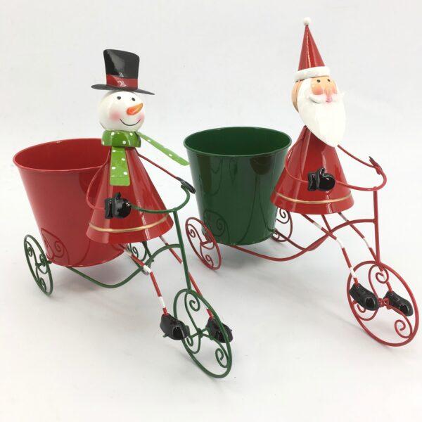 Pupazzo di neve e Babbo Natale in bici con caspò latta Set 2 pz