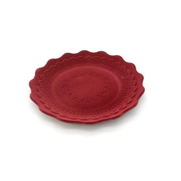 Vassoio velluto rosso d. 30 cm