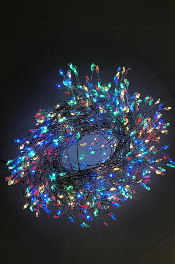 Cluster multifilo mini led filo argento luce multicolor 10mt 800 leds con spina