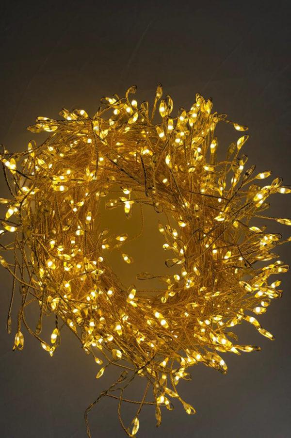 Cluster multifilo mini led filo oro luce calda 20mt 1600 leds con spina