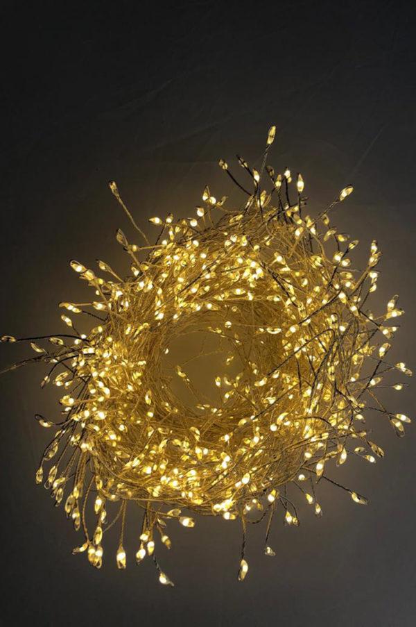 Cluster multifilo mini led filo argento luce calda 20mt 1600 leds con spina
