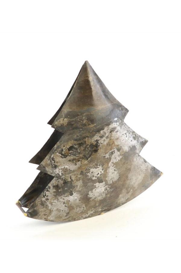 Albero di Natale in metallo effetto vintage l. 26 cm h. 23 cm