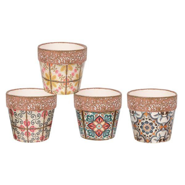 Vasi in ceramica in 4 fantasie stile maioliche 7,2 x h. 7 cm Set 2 pz