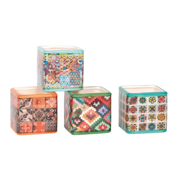 Vasi cubo in ceramica in 4 fantasie dai colori accesi 7,3 x h. 7,5 cm Set 12 pz
