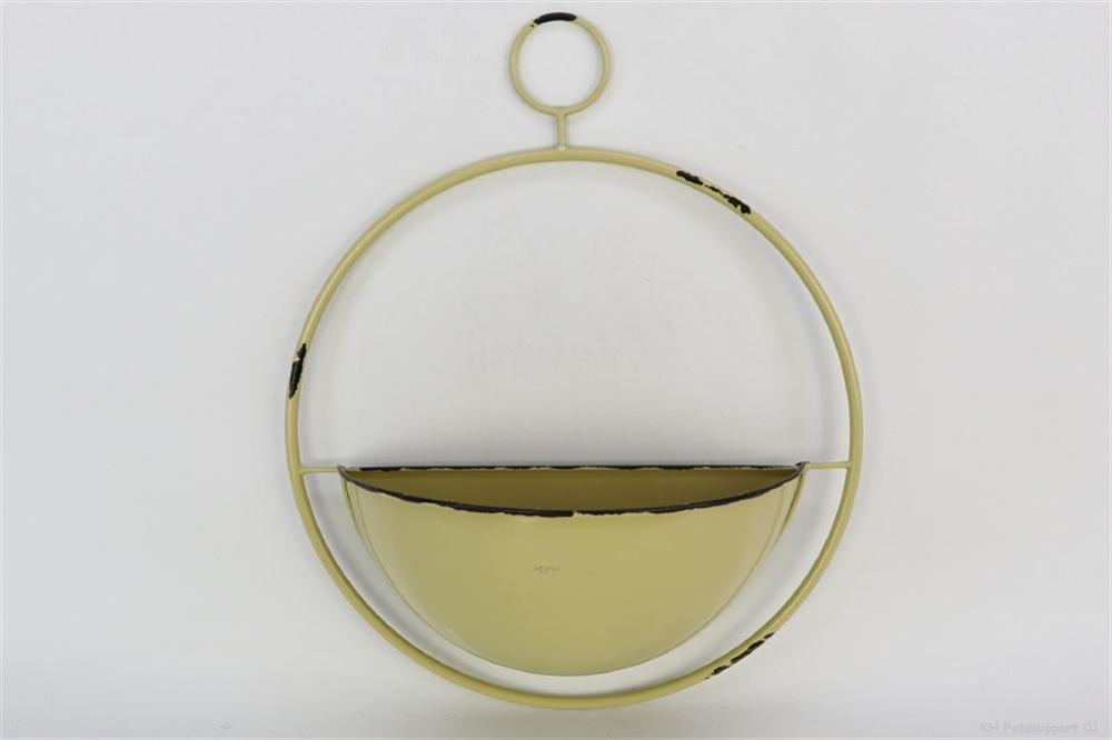 Poertafiori / portapiante tondo da appendere in latta colore giallo l 40 x 15,5 x h. 49 cm