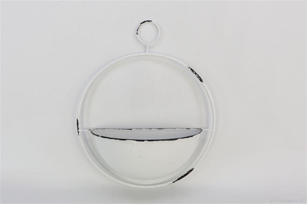 Portafiori / portapiante tondo da appendere in latta colore bianco l. 35 x 12,5 x h. 42,5 cm