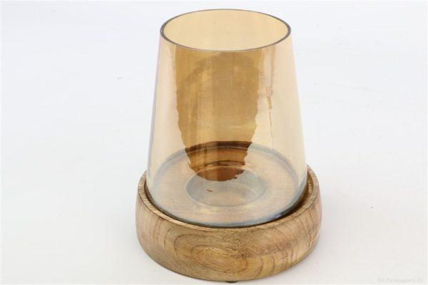 Portacandele in vetro color oro con base in legno d. 15 h. 21 cm