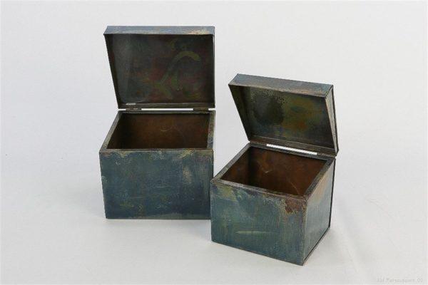 Set 2 scatole box in metallo grigio antico