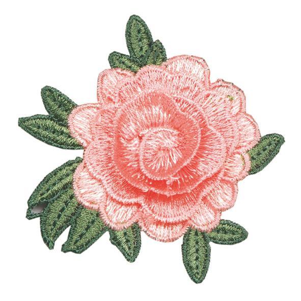 Set 6 rose rosa in stoffa con spilla 70 mm