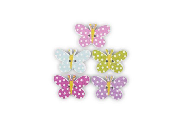 Set x 120 farfalle in legno colorate d. 2 cm