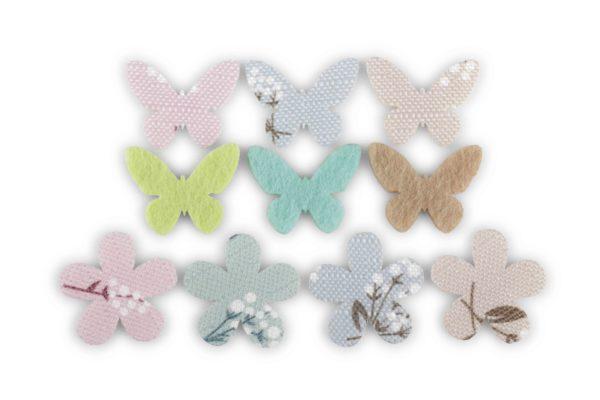 Set x 120 fiorellini in e farfalle in tessuto decorati d. 3 cm
