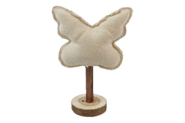 Farfalla decorativa bianca in tessuto su base in legno l. 13 x h. 21 cm
