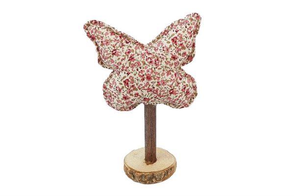 Farfalla decorativa bianca con fiorellini rosa in tessuto su base in legno l. 13 x h. 21 cm