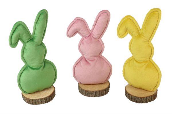 Set 3 coniglietti decorativi in tessuto rosa, verde e giallo su base in legno l. 18,5 x h. 18,5 cm