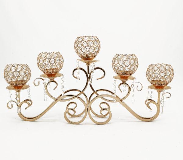 Candelabro dorato con struttura arricciata con 3 portacandela con gocce di cristallo 36 x h. 64 cm cm