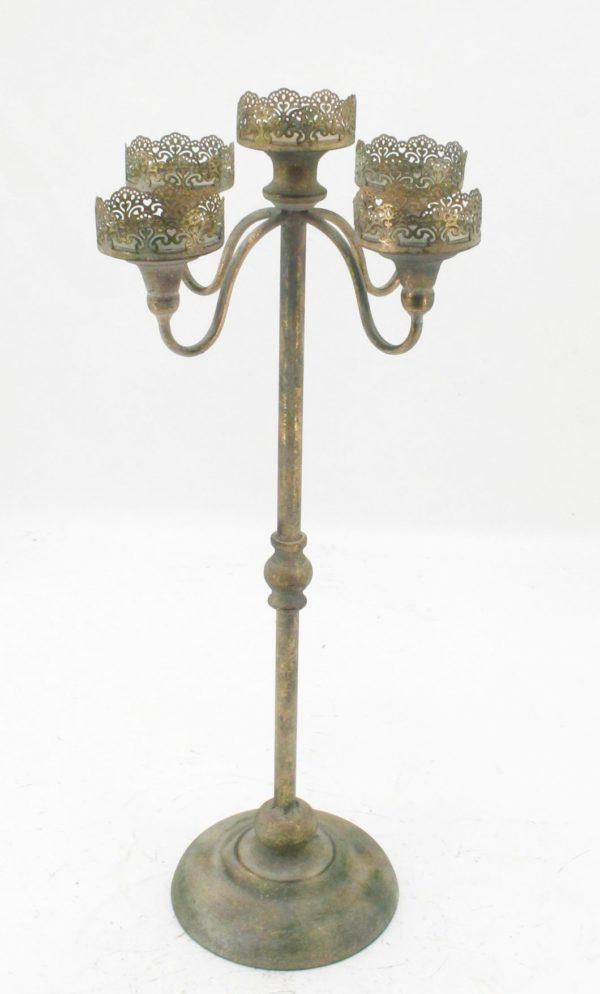 Candelabro con 5 braccia color oro grigio h. 80 cm