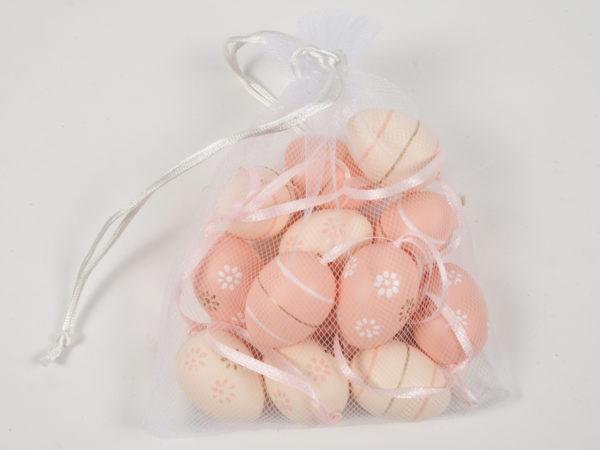 Sacchetto in rete con 12 uova con nastro color pesca con fantasie mix 3 x 4 cm