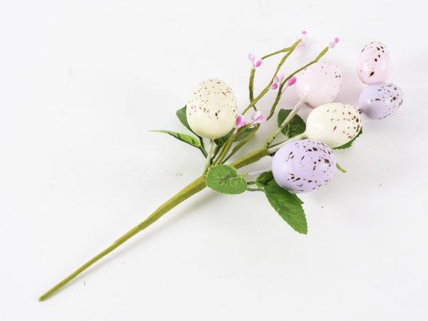 Set da 12 pick di Pasqua con uova color crema, rosa e viola
