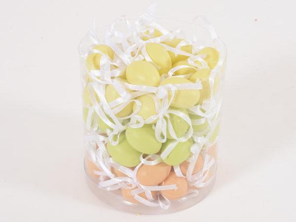 Box in pvc con 72 uova col. mix con nastro 2 x 1,5 cm