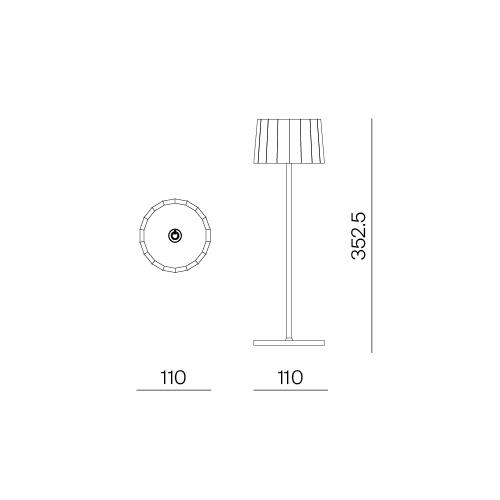 Lampada da tavolo blu avio. Ricaricabile tramite micro USB, dimmerabile e resistente ad acqua e polvere d. 11 cm h. 35 cm