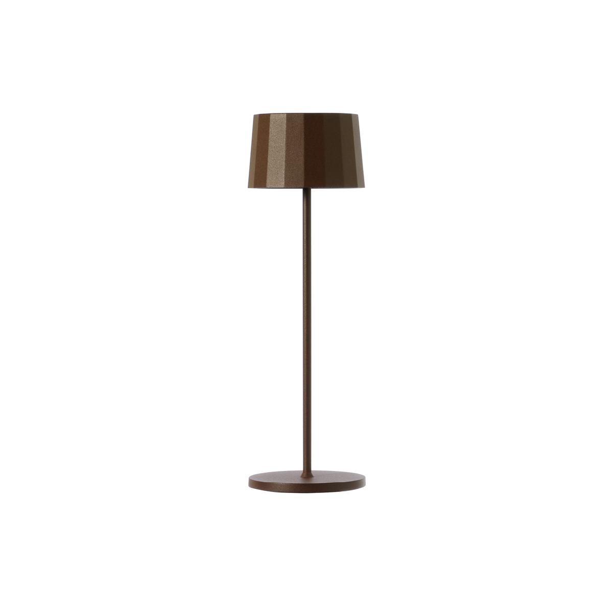 Lampada da tavolo color corten. Ricaricabile tramite micro USB, dimmerabile e resistente ad acqua e polvere d. 11 cm h. 35 cm