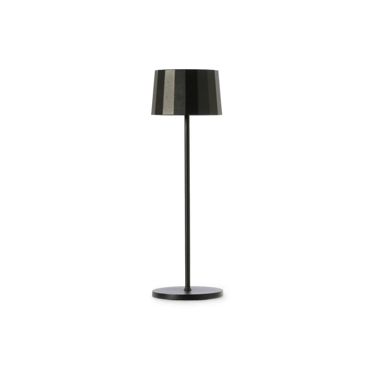 Lampada da tavolo nera. Ricaricabile tramite micro USB, dimmerabile e resistente ad acqua e polvere d. 11 cm h. 35 cm