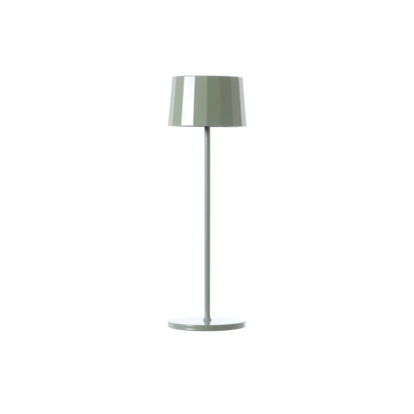 Lampada da tavolo verde salvia. Ricaricabile tramite micro USB, dimmerabile e resistente ad acqua e polvere d. 11 cm h. 35 cm