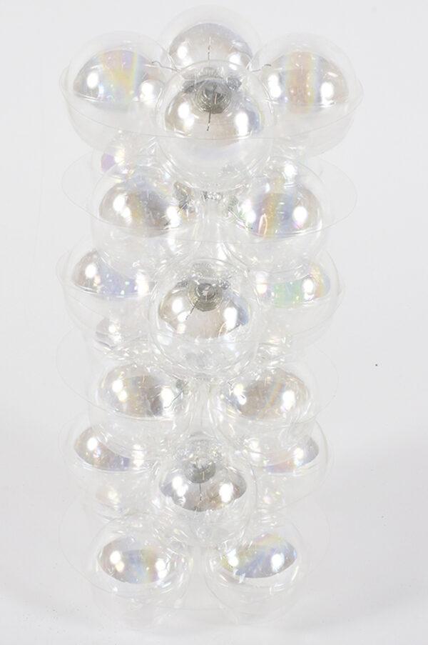 Set da 24 palline di Natale in vetro trasparente 6 cm