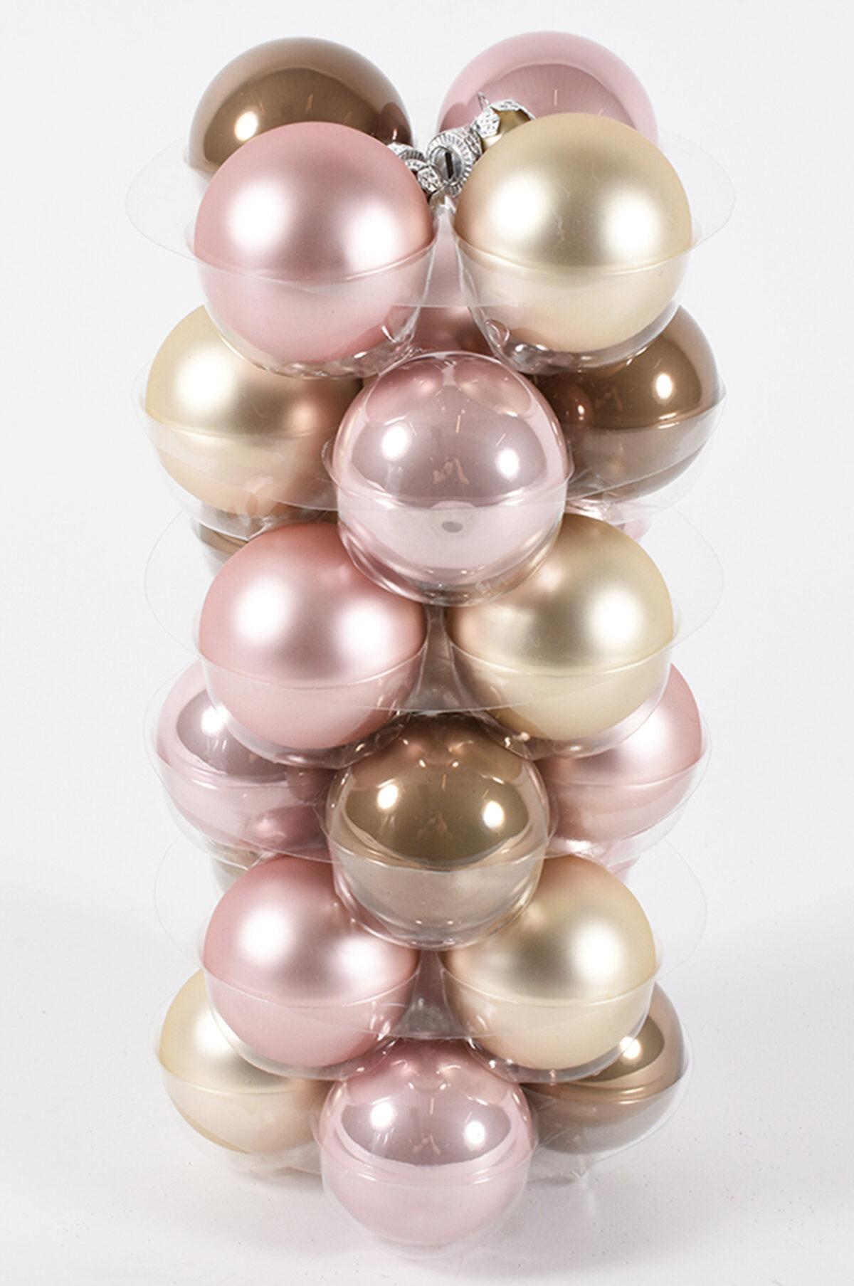 Set da 24 palline di Natale in vetro di colore marrone, crema e rosa 6 cm