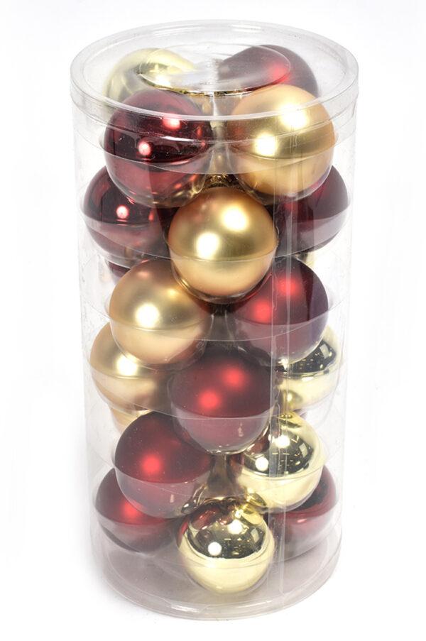 Set da 24 palline di Natale in vetro di colore bordeaux e oro in 2 tonalità 6 cm