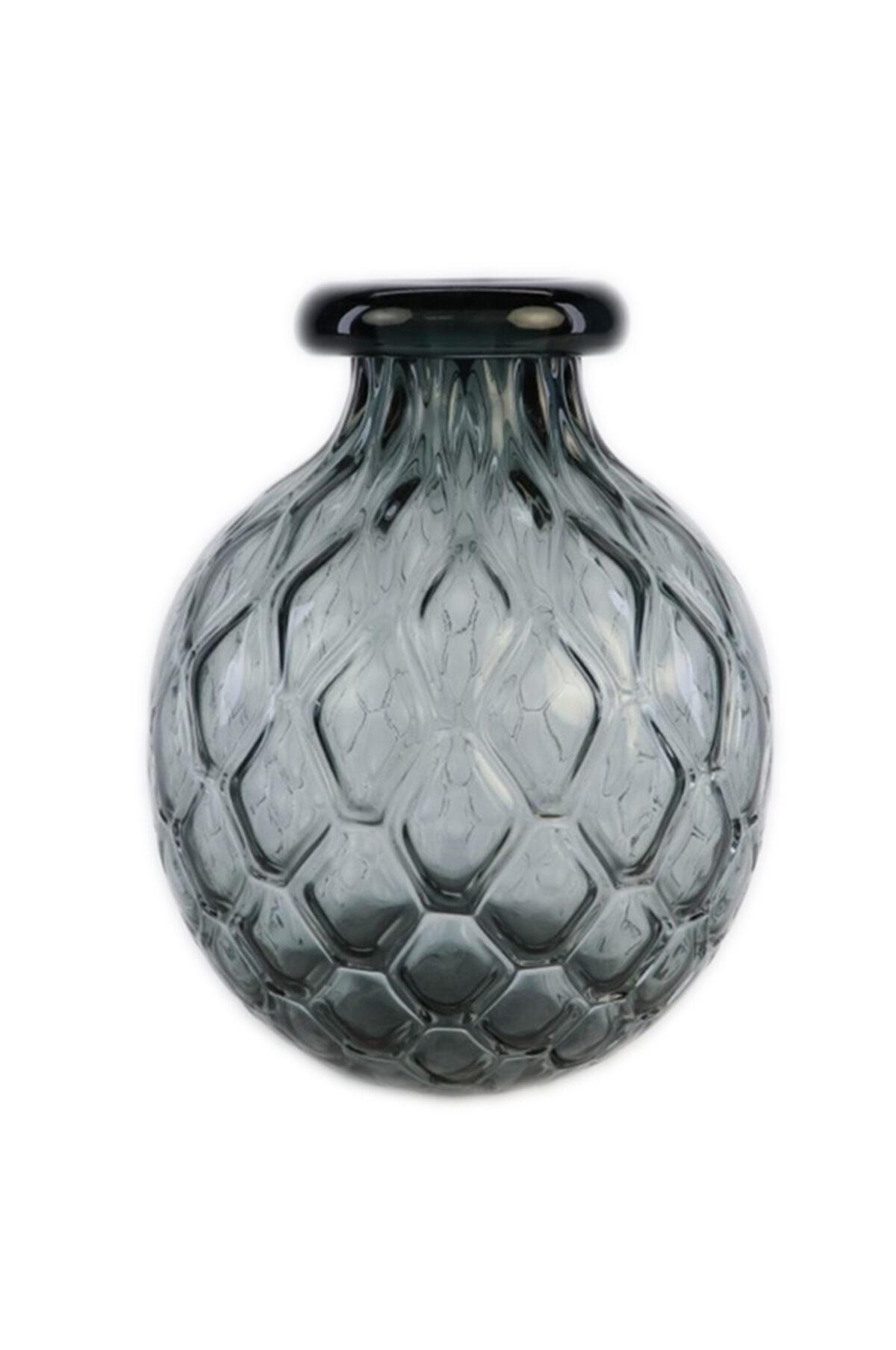 Vaso portafiori - portacandele in vetro grigio d. 25,5 h. 32 cm
