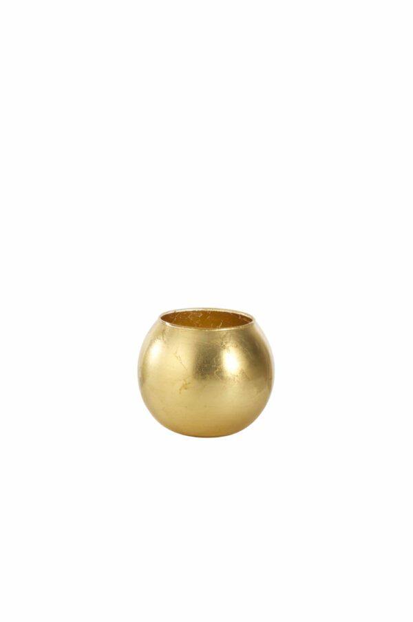 Sfera in vetro con colorazione artigianale foglia oro d. 12 cm h. 10 cm
