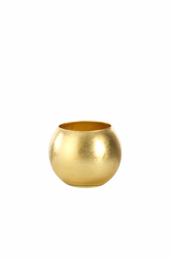 Sfera in vetro con colorazione artigianale foglia oro d. 20 cm h. 18 cm