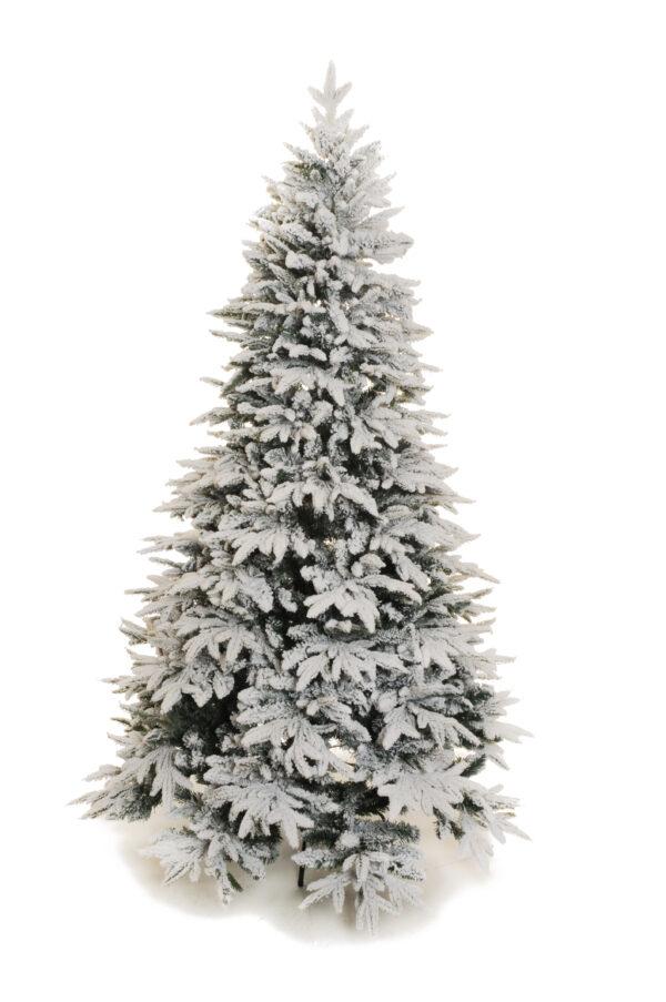 Albero di Natale artificiale in pvc verde innevato con 1090 punte d. 120 cm h. 120 cm