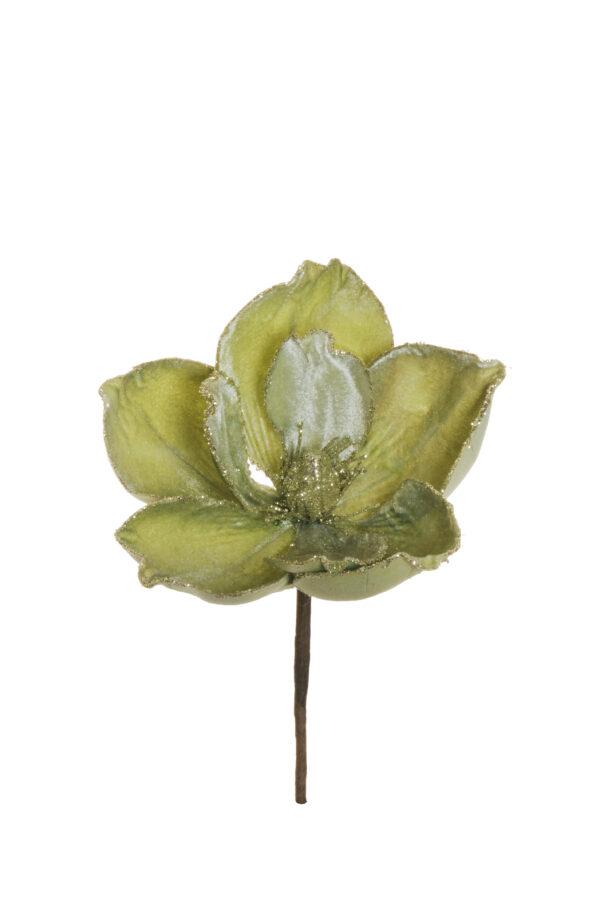Pick magnolia artificiale in velluto con glitter color verde chiaro d. 18 h. 22 cm