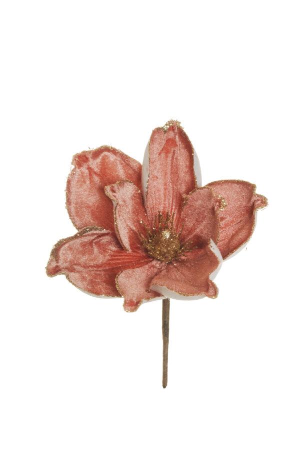 Pick magnolia artificiale in velluto con glitter color malva scuro d. 18 h. 22 cm