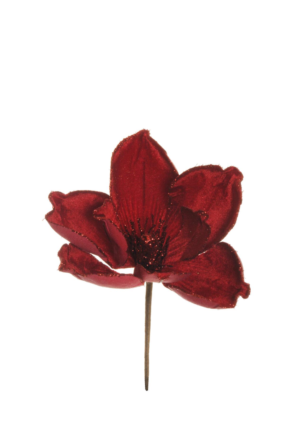 Pick magnolia artificiale in velluto con glitter color rosso d. 18 h. 22 cm