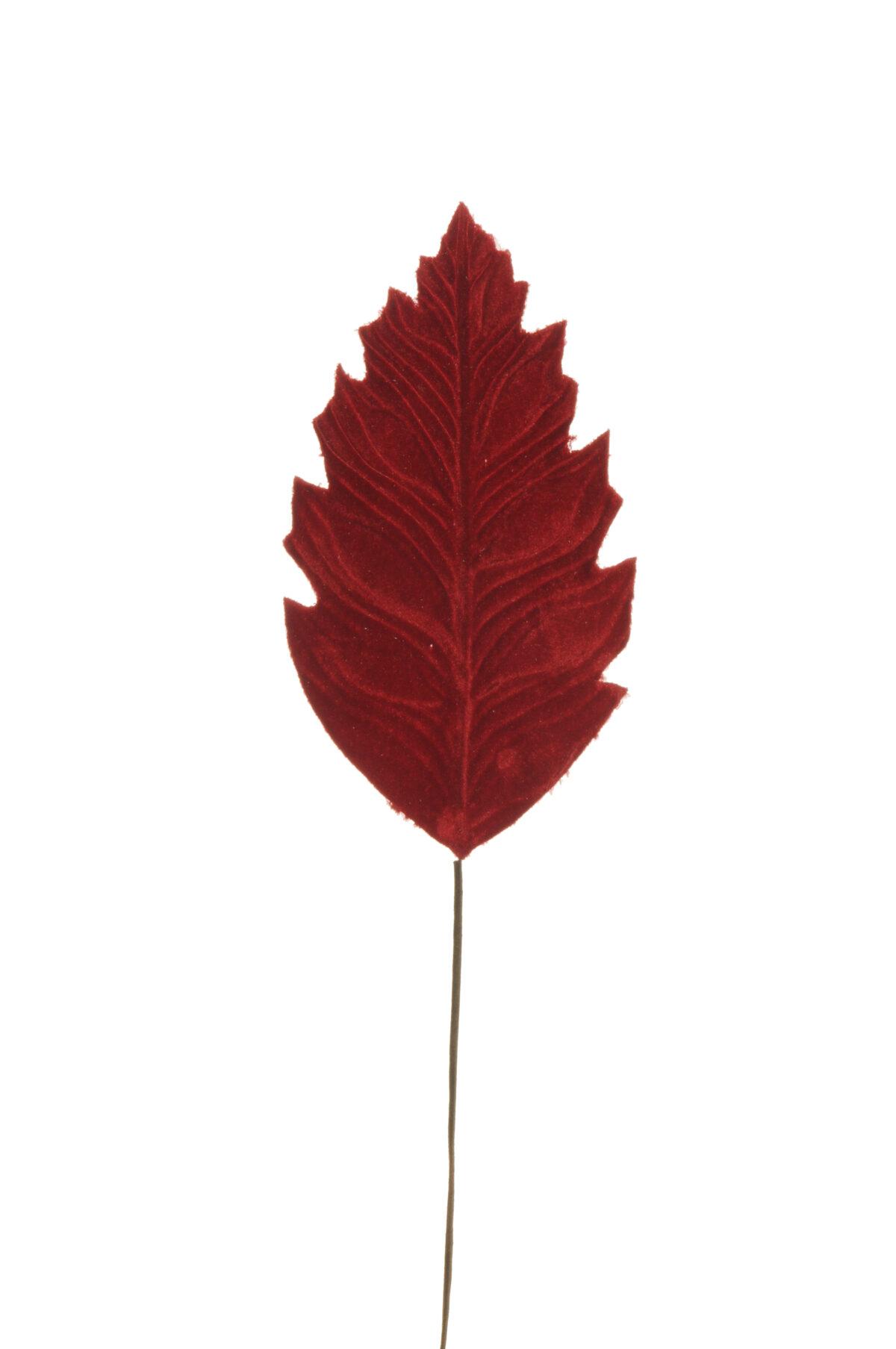 Set di 6 foglie philodendro artificiali in velluto color rosso d. 21 x 12 cm