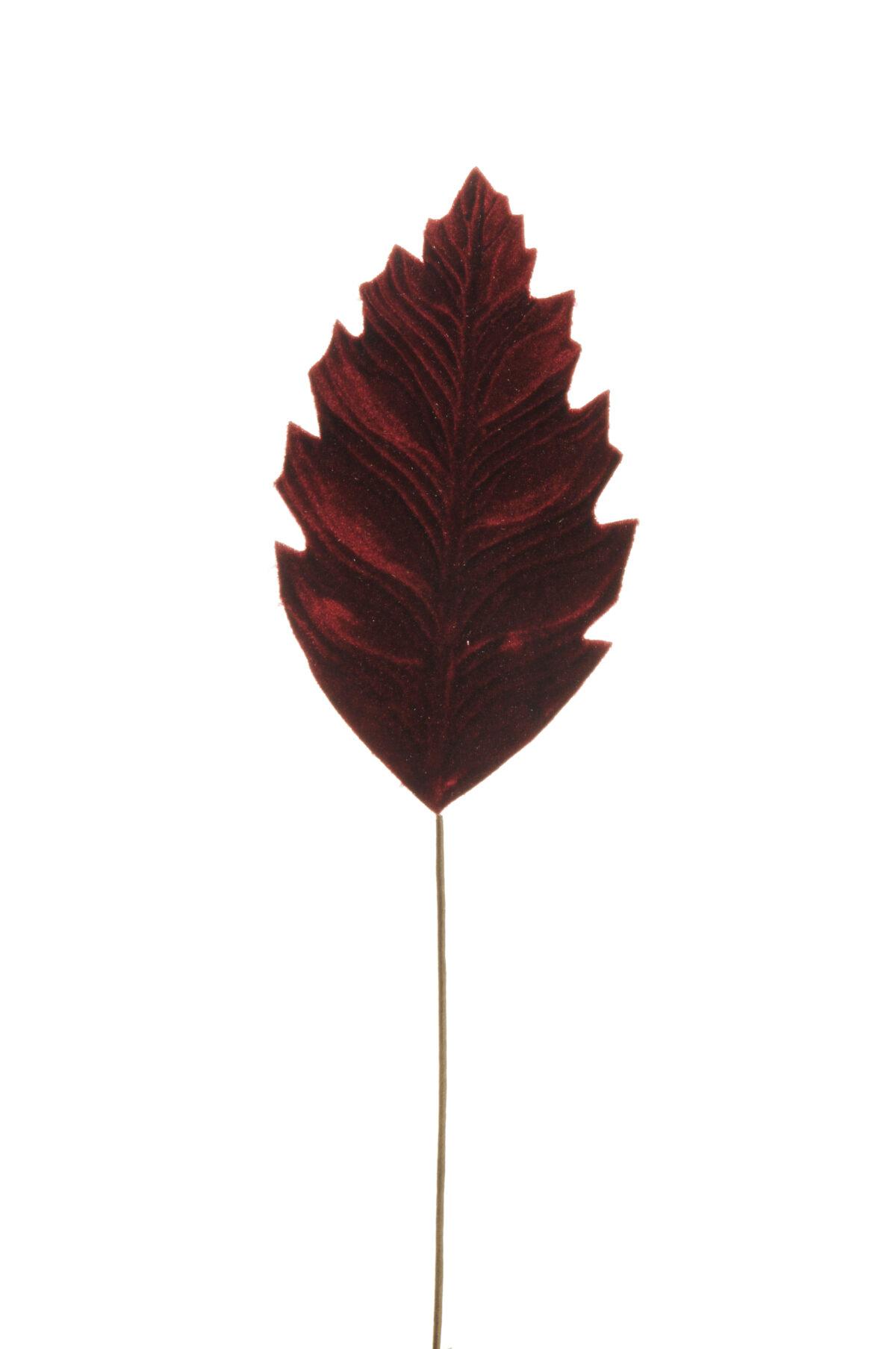 Set di 6 foglie philodendro artificiali in velluto color rosso burgundy d. 21 x 12 cm