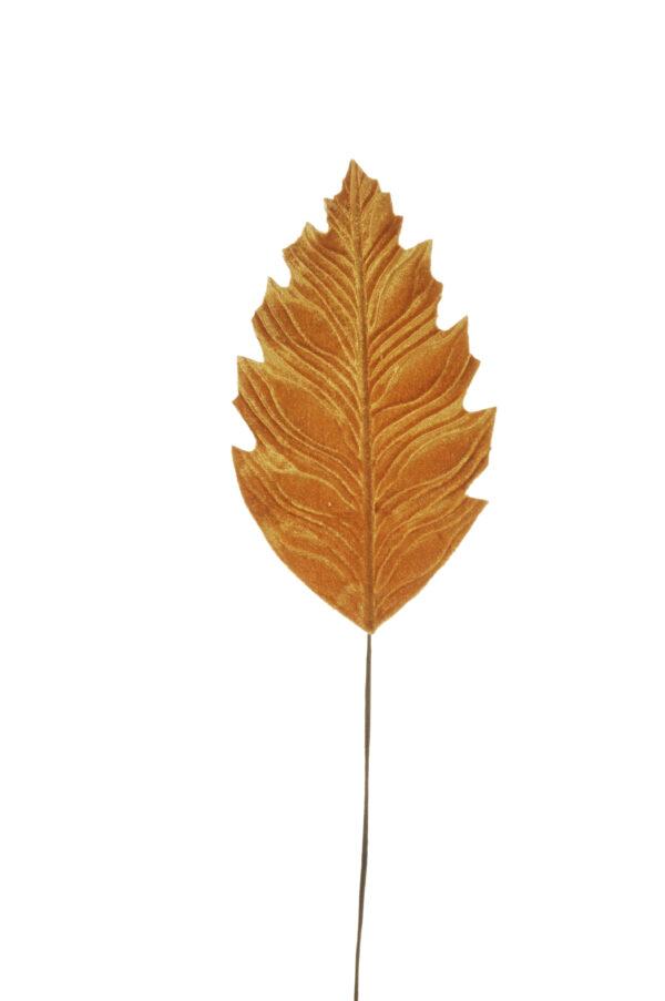 Set di 6 foglie philodendro artificiali in velluto color giallo mostarda d. 21 x 12 cm