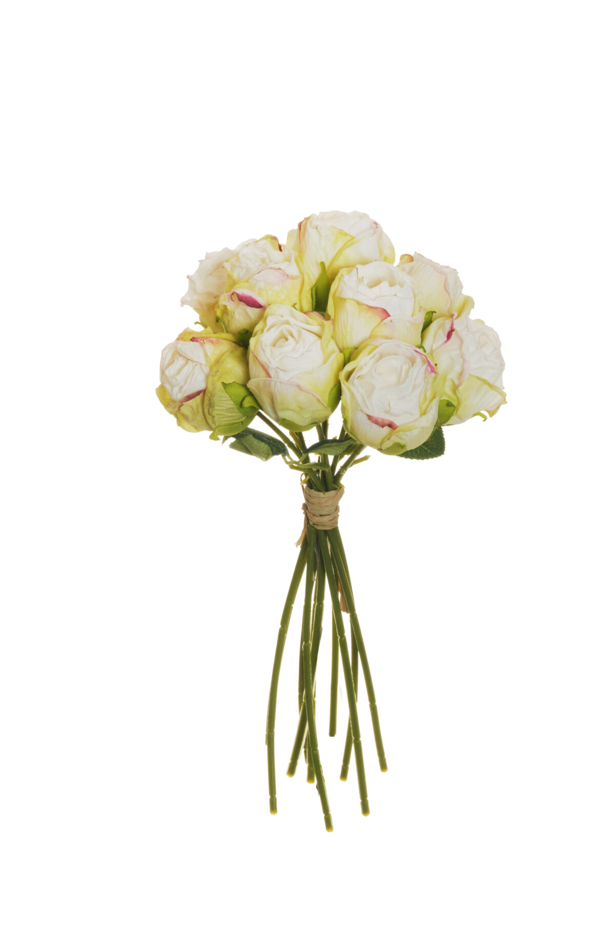Mazzo di boccioli di rosa artificiale effetto finto secco con 10 fiori bianchi e verdi h. 26 cm