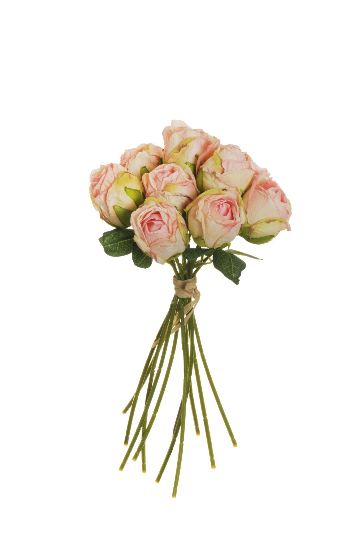 Mazzo di boccioli di rosa artificiale effetto finto secco con 10 fiori rosa chiaro e verdi h. 26 cm