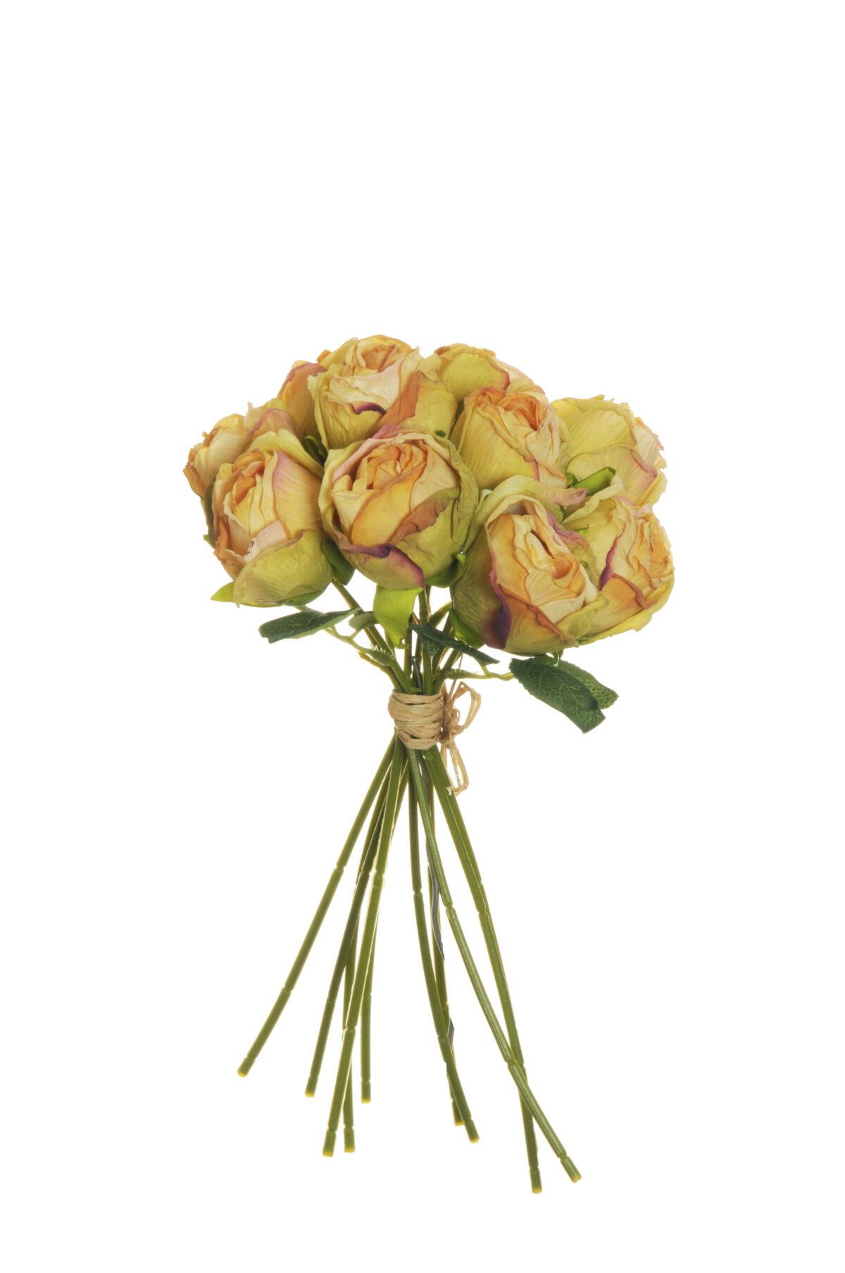 Mazzo di boccioli di rosa artificiale effetto finto secco con 10 fiori giallo autunnale h. 26 cm