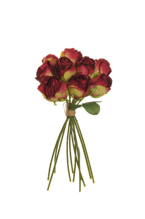 Mazzo di boccioli di rosa artificiale effetto finto secco con 10 fiori fuchsia scuro h. 26 cm