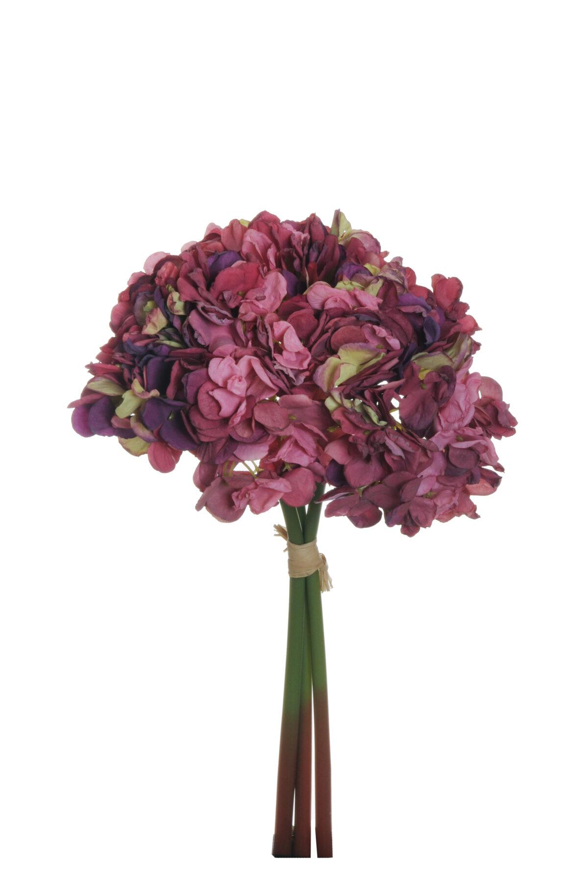 Mazzo di ortensia artificiale effetto finto secco x 3 di colore fuchsia e viola h. 41,5 cm