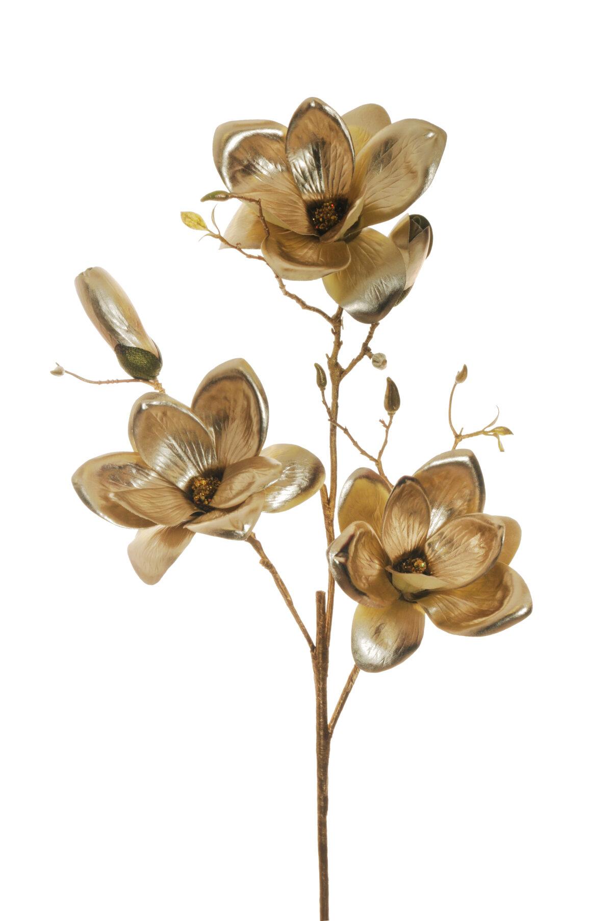 Magnolia artificiale con 3 rami, 3 fiori e 3 boccioli di colore oro metallico 94 cm