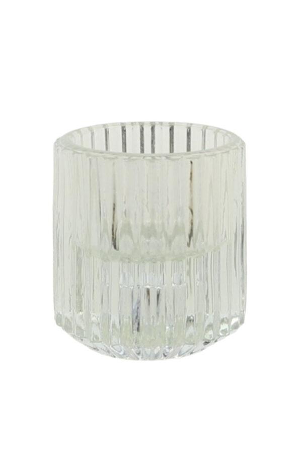 Portacandele porta t-light in vetro trasparente d. 5,5 h. 6 cm